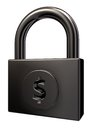 Padlock with dollar symbol Royalty Free Stock Photos