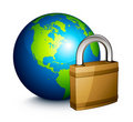 Padlock and Earth globe Royalty Free Stock Image