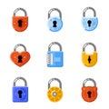 Padlock flat icons. Lock vector signs Royalty Free Stock Photo