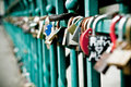 Padlock hanging on love bridge in Wroclaw Stock Image