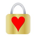 Padlock with heart golden red shape on it in white background Royalty Free Stock Photography