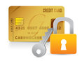Padlock, key and credit cards Stock Images
