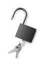 Padlock and keys on a white background Royalty Free Stock Photo