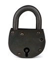 Padlock old iron isolated on white Royalty Free Stock Photo