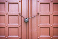 Padlock on a red door Royalty Free Stock Photo