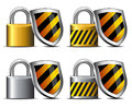 Padlock with shield icon safeguard your transact in two colors concept internet protection keeping you safe payment Royalty Free Stock Photography