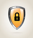 Padlock shield over beige background vector illustration Stock Photo