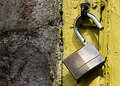 Padlock with yellow background Royalty Free Stock Photo