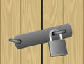 Padlocked door wooden vector illustration Stock Image