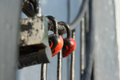 Padlocked on metal rods concrete the structure Royalty Free Stock Photo