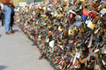 Padlocks on the bridge of arts in paris Royalty Free Stock Photos