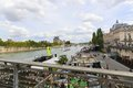 Padlocks bridge over the seine river in paris france aug a Royalty Free Stock Images