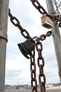 Padlocks And Chains Secure Gate To Industrial Work Site Royalty Free Stock Photo