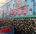 stock image of  Padlocks of love, China town, Street art Kuala Terengganu, Malaysia
