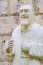 Padre pio holy sculpture from white stone Royalty Free Stock Image