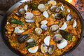 Paella cooked full on a wood fire at home Royalty Free Stock Image
