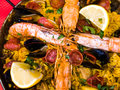 Paella espanhol do alimento de Traditionnal Fotos de Stock Royalty Free