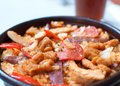 Paella fresh served sausage on a pan Royalty Free Stock Photography