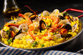 Paella a la margarita with shellfish Royalty Free Stock Photo