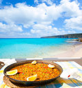 Paella mediterranean rice food in balearic islands Royalty Free Stock Images