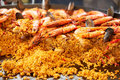 Paella with shrimps Royalty Free Stock Photo
