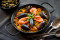 Paella on a table Royalty Free Stock Photo