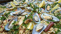 Paella, tasty up close with mussels Royalty Free Stock Photo