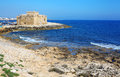 Pafos medieval fortification of bay cyprus Royalty Free Stock Photos