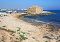 Pafos medieval fortification of bay cyprus Stock Photos