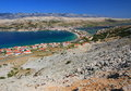Pag island and village, croatia, adriatic sea Royalty Free Stock Image