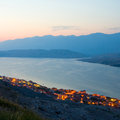 Pag landscapes in croatia sunset Stock Photo