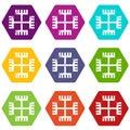 Pagan ancient symbol icons set 9 vector