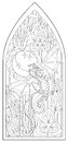 Page with black and white drawing of beautiful medieval Gothic window with stained glass and dragon for coloring.