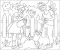 Page with black and white drawing for coloring. Illustration of children working in the spring garden.