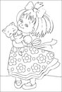 Page with black and white illustration of little girl for coloring. Royalty Free Stock Photo