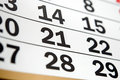Page of calendar showing date today Royalty Free Stock Image