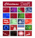 Page of christmas stamps on white background Royalty Free Stock Images