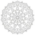 Page coloring mandala with hearts isolated on white