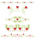 Page decorations with floral elements and hearts Royalty Free Stock Photos