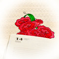 Page diary for February 14 on a romantic lace background Royalty Free Stock Photo