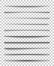Page divider with transparent shadows. Set of pages separation vector isolated. Transparent realistic shadow for web Royalty Free Stock Photo