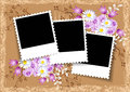 Page layout photo album with flowers Royalty Free Stock Photo