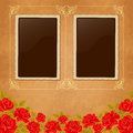 Page of photo album vintage background with old paper photoframe and red roses perfect for your holiday layout just insert your Stock Photo