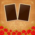 Page of photo album vintage background with old paper photoframe and red roses perfect for your holiday layout just insert your Stock Images