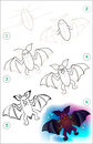 Page shows how to learn step by step to draw a bat. Royalty Free Stock Photo
