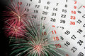 Pages et feux d'artifice de calendrier Photo libre de droits
