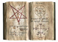 Pages of the old magic book with mystic symbols Royalty Free Stock Photos