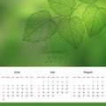 Pagina del calendario di estate di nuovo vettore di 2013 anni Fotografie Stock Libere da Diritti