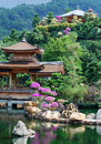 Pagoda of Asian temple and pond Royalty Free Stock Photo