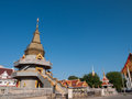 Pagoda on blue sky golden backgound in sunny day Stock Photography